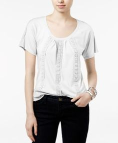 TOMMY HILFIGER Tommy Hilfiger Delphine Crochet-Trim Top, Only at Macy's. #tommyhilfiger #cloth # tops