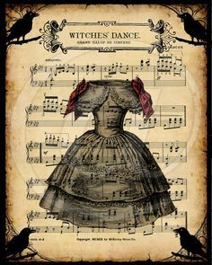 Printable Halloween Witches Dance Vintage Digital Collage Music Sheet Iron on Transfer scrapbooking junk journal book cover raven gypsy – The little thins – Event planning, Personal celebration, Hosting occasions Retro Halloween, Vintage Halloween Cards, Theme Halloween, Fall Halloween, Halloween Crafts, Halloween Witches, Halloween Music, Happy Halloween, Halloween Artwork