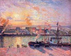 Camille Pissarro - Sonnenuntergang in Rouen                                                                                                                                                                                 More