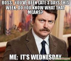 Parks And Rec Quotes, Parks N Rec, Parks And Recreation, Funny Wednesday Memes, Funny Memes, Hilarious, It's Funny, Stupid Funny, Online Gaming Sites