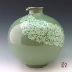 Amazon.com - Korean Celadon Glaze Sgraffito White Chrysanthemum Flower Design Green Porcelain Ceramic Pottery Kitchen Home Decor Decorative ...