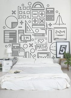 If numbers are your thing, you'll love this Maths wallpaper mural. Taking simplified illustrations of mathematical objects and numbers, this striking mural would make a wonderful addition to any bedroom space.