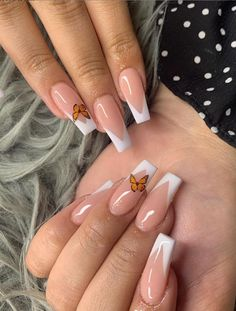 Dancing On The Fingertips In The Summer 2020-Butterfly Nails Art Designs - Keep creating beauty and warm home, Find more happiness in daily life French Tip Acrylic Nails, Acrylic Nails Coffin Short, Pink Acrylic Nails, Purple Nails, White Tip Nails, Simple Acrylic Nails, French Nails, Clear Acrylic, Edgy Nails