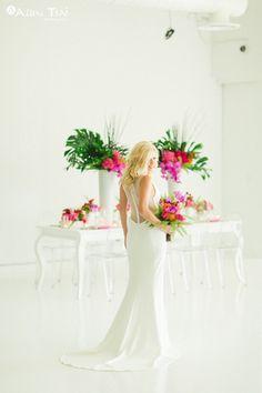 Modern-Tropics Wedding - Styled Shoot - Modern Tropical Wedding - Brides of North Texas - Red, Purple, Pink, Orange Wedding - Modern Tropical Bridal Bouquet - Modern Wedding Dress