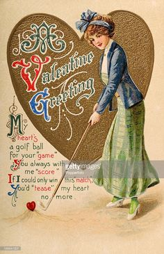 Golf on pinterest 326 pins vintage valentine images pinterest american gilded age fashioned lady playing golf on a valentine greeting card c1900 cwl getty images m4hsunfo