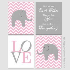 Quote Wall Art Print Set FOUR Personalized Elephant by ofCarola, $36.00