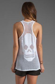 Autumn Cashmere Hand Crochet Skull Tank in Bleach White | REVOLVE