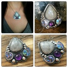 Lotus Pendant with Moonstone, Amethyst and Abalone Shell by Star Native