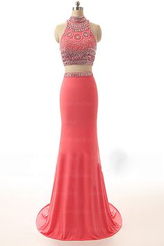 Watermelon Beaded Long Sheath Modest Prom Party Dresses
