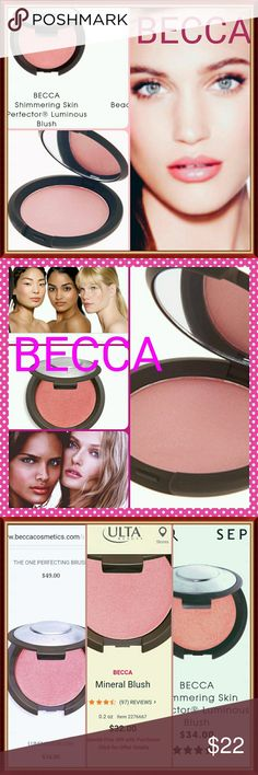 BECCA Blush Becca Blush luminescence.Beautiful Color. Use on cheeks,lips or hint of color on all around face for sun 💋 kiss blush glow Brand New /Final Sale Web $35 with Tax/Ship $49 (Buy only no bundle or will decline) BECCA Makeup Blush