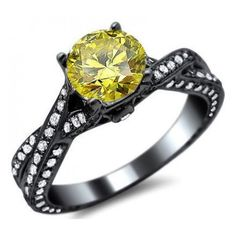 1.73ct Canary Yellow Round Diamond Engagement Ring 14k Black Gold /... ❤ liked on Polyvore