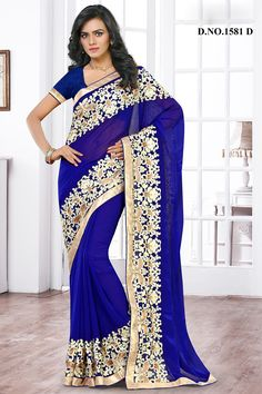 Blue Designer Party Wear Saree With Embroidary Work Varsiddhi Catalog 1581D