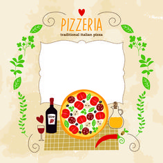 Free Creative Pizza design elements vector 02