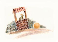 Froschkönig am Brunnen, Buntstift, Illustration von Melanie Kuipers