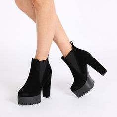2a3f67333562 Hallie Black Faux Suede High Heel Chelsea Boots