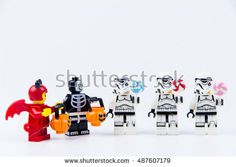Nonthabure, Thailand - September, 22, 2016 : Lego ghost halloween want halloween candy Trick or Treat with Lego star wars stormtrooper.Theme Halloween background.