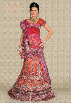 Orange Net Lehenga Choli with Dupatta Net Lehenga, Lehenga Choli, Long Petticoat, Indian Accessories, Indian Princess, Long Blouse, Long Scarf, Indian Sarees, Indian Dresses