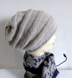 Women knit slouchy  beanie hat  Slouch Beanie by recyclingroom, $29.00