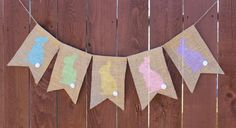 Easter Banner Burlap Bunny Pastel Colors by SweetArlo on Etsy, $12.00
