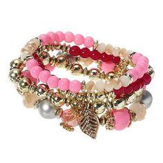 4 Pcs/set Multilayer Crystal Bead Bracelet Bohemian Leaf Pendant Stretch Bracelet for Men Women