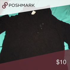 Black quarter sleeved shirt Button up comfy black shirt Faded Glory Tops