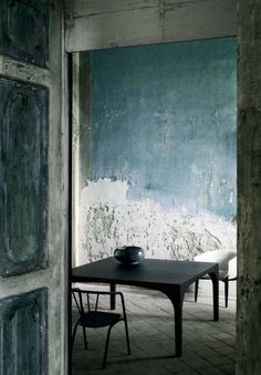 Rustic and raw. Blue tones. Reminds me of a Greek fishing village shack.