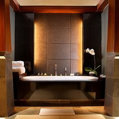 Ultra Modern Luxury Bathrooms, spa like master bath, love the lighted wall behind the Tub.