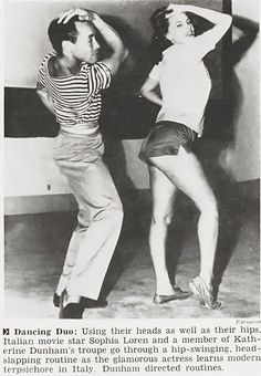 "Sophia Loren learns ""modern terpsichore"" in Italy with a Katherine Dunham dancer. Dunham herself was directing them. Jet, June 30, 1955."