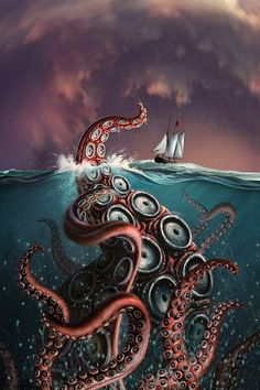Shop for kraken art from the world's greatest living artists. All kraken artwork ships within 48 hours and includes a money-back guarantee. Choose your favorite kraken designs and purchase them as wall art, home decor, phone cases, tote bags, and more! Painting Prints, Wall Art Prints, Canvas Prints, Fantasy Posters, Fantasy Art, Poster Art, Poster Prints, Fantasy Creatures, Mythical Creatures