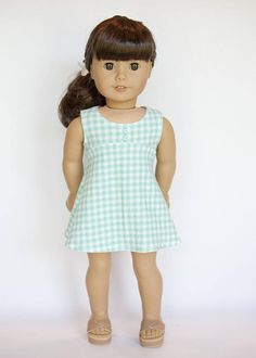 American Girl doll sized tri-city knit dress mint and white
