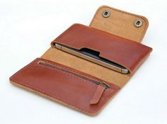 Leather  iPhone wallet case in Tan Brown -  with zipper and card slot