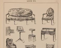 French Louis XV Furniture Designs Large Antique by PaperPopinjay