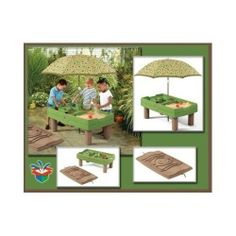 Kids Fun Outdoor Sand & Water Activity Play Table w Umbrella & Cover  2-7 Yrs