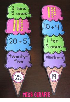 Cute material for practicing numbers! This blog has SOOO many place value ideas and tips!! #preschool #efl #education (repinned by Super Simple Songs)