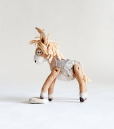 Custom order.   Mini  Mini Felt Donkey. Art Toy. by TwoSadDonkeys