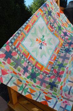 Aviatrix medallion modern patchwork quilt by Sharon McConnell