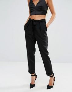 Image 4 of ASOS PETITE Woven Peg Pants with Obi Tie