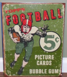 Vintage Iconic Topps Bubble Gum Football Trading Card Tin Sign