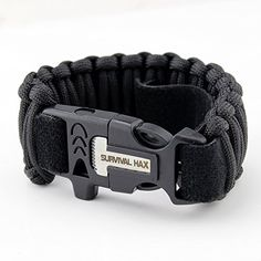 Survival Paracord Bracelet with Fire Starter, Whistle, Knife, and 10.5 feet of Paracord - Adjustable