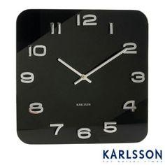 Karlsson Vintage Square Glass Clock - Black
