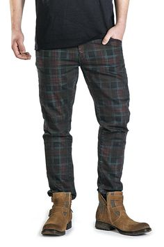 Rock Rebel by EMP Checked Vince (Tapered Fit) Hose schwarz/bordeaux: Amazon.de: Bekleidung