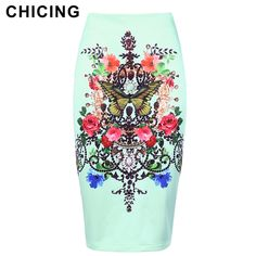 CHICING Women Elegant Wrap Pencil Skirts 2018 New Arrival High Waist Floral Printed Sheath Bodycon Sexy Skirt Ladies A1707062