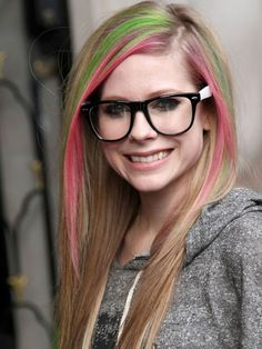 9a71c3c826f6 Avril Lavigne gray pants sweater and pink and green hair streaks