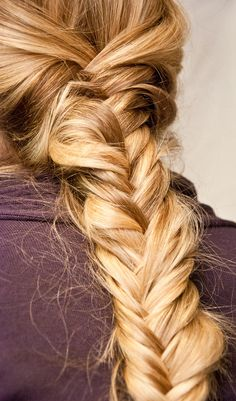 messy Blonde fishtail braid