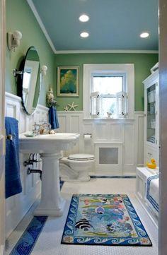 Beach Bathroom Ideas weathered look wood paneled wall | beach theme bathroom, drift