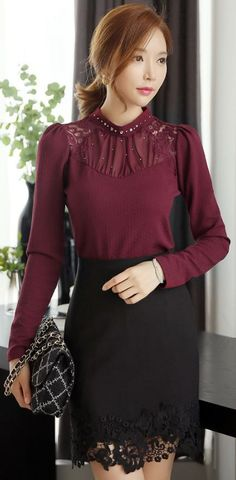 Lovely, demure, Burgundy blouse & Black Lace skirt! Perfect for Fall & Winter dates!