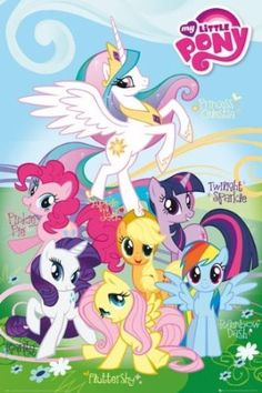 Posters: My Little Pony Poster - Fluttershy, Rainbow Dash, Rarity, Pinkie Pie… My Little Pony Party, My Little Pony Names, Cumple My Little Pony, My Little Pony Poster, Little Pony Birthday Party, My Little Pony Characters, My Lil Pony, My Little Pony Pictures, My Little Pony Friendship