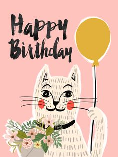 Mia Charro – Illustrator and magic seeker Happy Birthday Art, Happy Birthday Wishes Cards, Happy Birthday Images, Cat Birthday, Birthday Messages, Sister Birthday, Birthday Humorous, Birthday Congratulations, Birthday Sayings