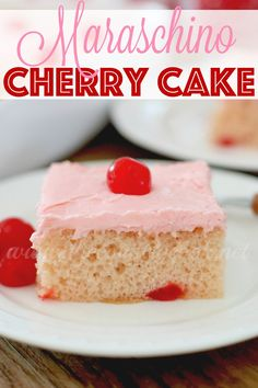 Maraschino Cherry Cake recipe uses a boxed cake mix to start with and the most amazing, creamy frosting to top it all off with. So good!
