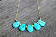 Turquoise Drop Charm Necklac... from BetsyGraceJewelry on Wanelo